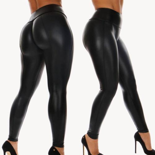 HIRIGIN Women PU Leather Legging Pencil Trousers High Waist Stretch Skinny Shiny Long Pants