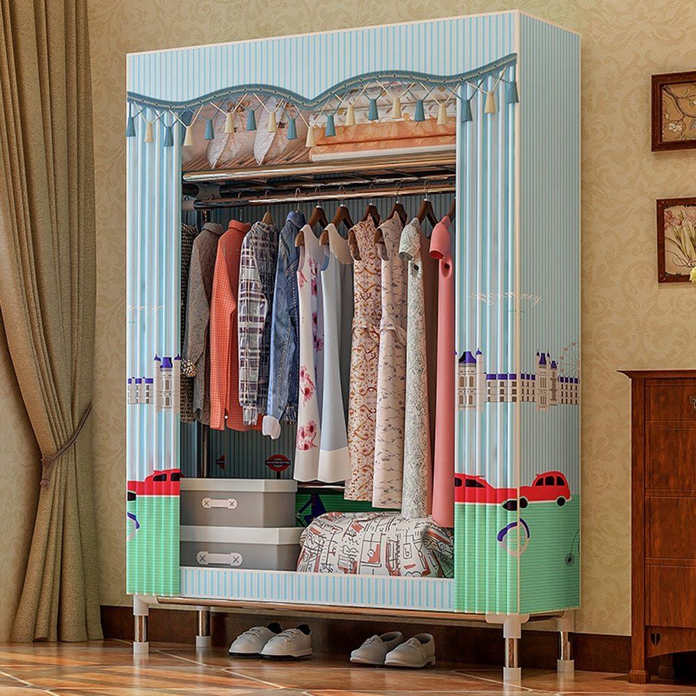 Fabric Wardrobe Closet Clothes Storage Organizer Clothing Rack Clothes Closet Fleece Wardrobe Garment Storage Organizer
