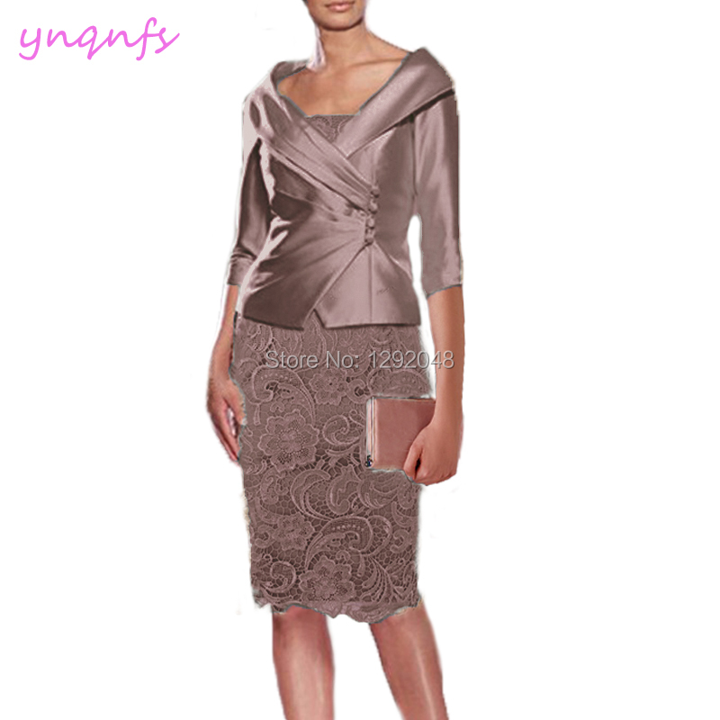 27cd6f2321c YNQNFS M195 Real Knee Length Dress Party Wedding Guest Wear 2 Piece Jacket  Lace Outfits Brown
