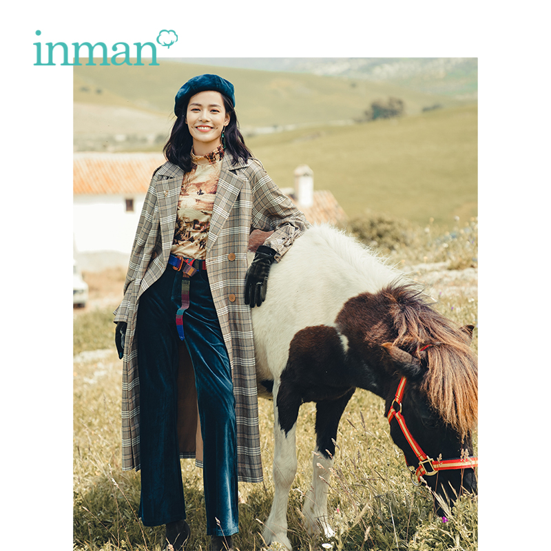 INMAN Spring Spring Autumn Lapel Loose With Belt Retro Plaid Long Section Woman Trench Coat