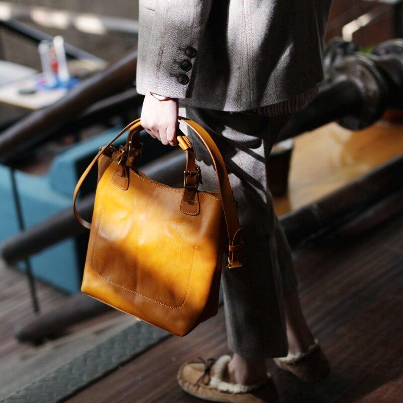 Grand Supérieure Mode Femmes Bureau Bandoulière En Dames yellow Cuir Black 2019 Vintage Main Véritable Qualité Sac Brown Réel Féminine Pour Designer Sacs À wAZ0Pv