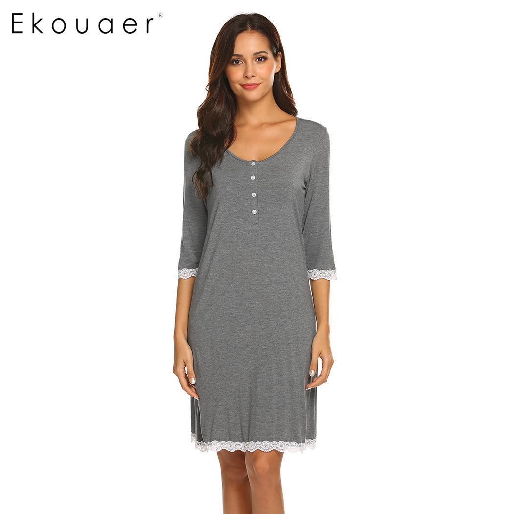 Ekouaer Nightgown Spring Summer Sleepwear Dress Women Fashion Nightdress V-Neck Maternity Three Quarter Sleeve Button Nightwear