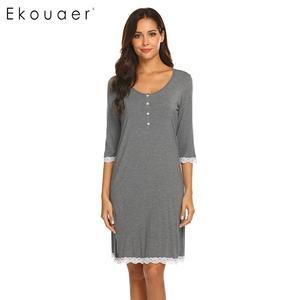 Image 1 - Ekouaer כתונת לילה אביב קיץ הלבשת שמלת כותונת האופנה נשים V צוואר יולדות שלושה שרוול רבעון כפתור Nightwear