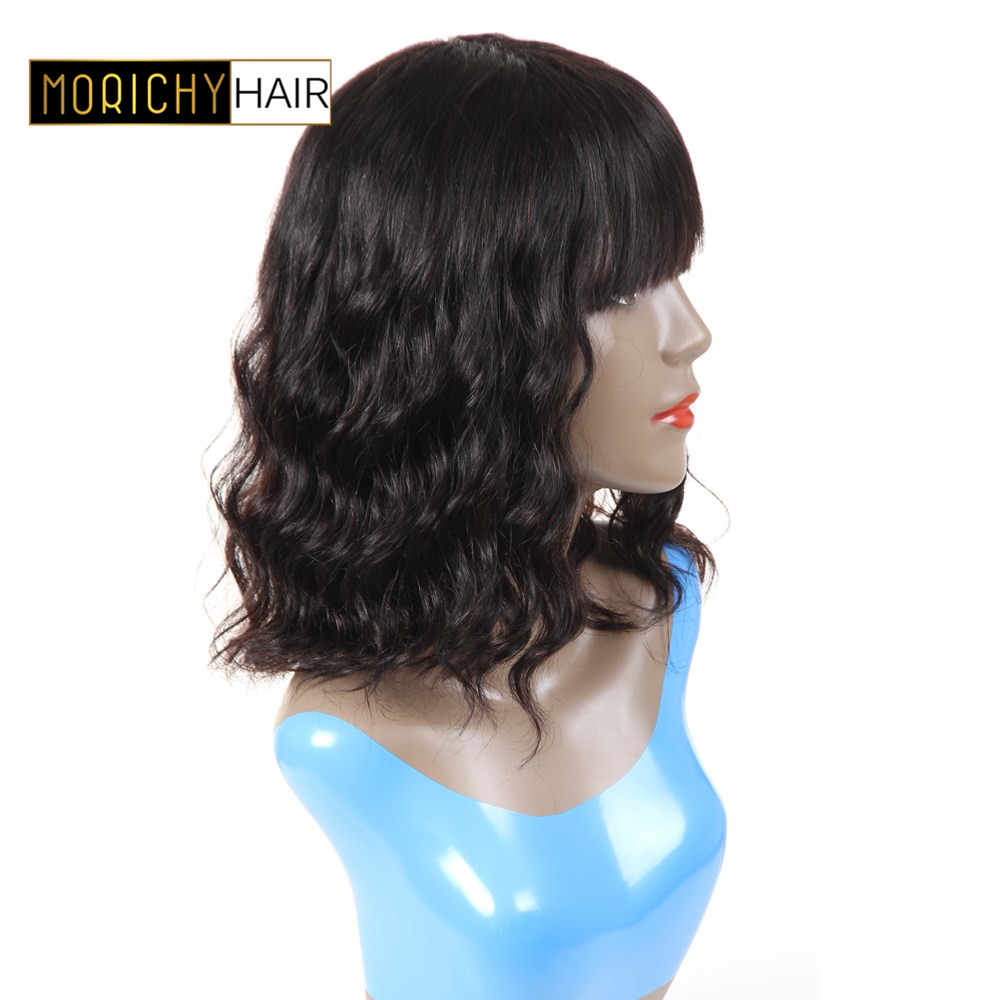 MORICHY Brazilian Natural Wavy Short Bob Human Hair Wigs With Bangs  Non-Remy Human Hair  Wigs 130% Density Natural Black Color
