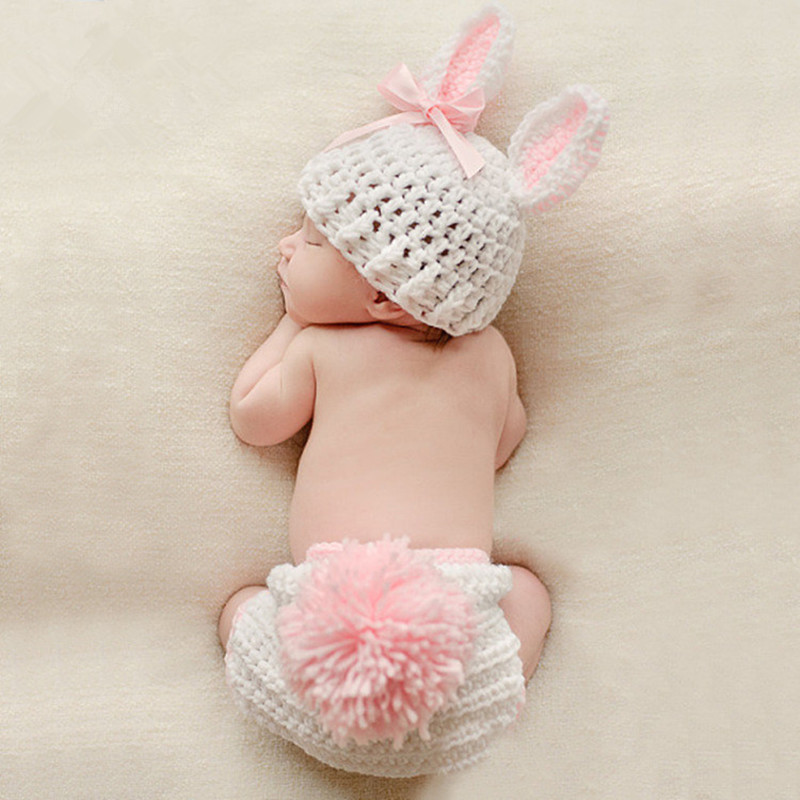 Newborn Photography Props Accessories Baby Rabbit Costume Knitting Baby Hat+Pants Set Studio Baby Photo Props Crochet Baby Gifts