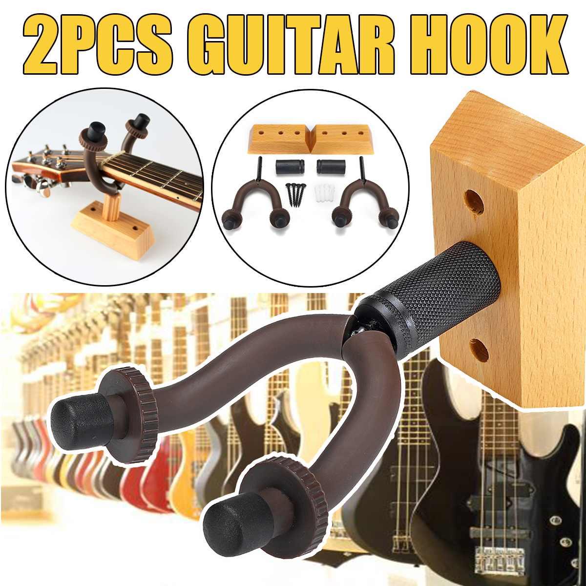 A Pair Guitar Stand Hook Wood Wall Mount Hanger Bracket