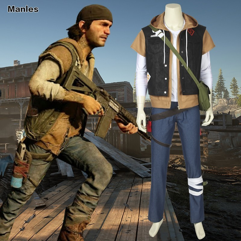 Game Days Gone Costume Deacon St. John Bounty Hunter Carnival Adult Halloween Men Bag Hoody Cow Jacket Vest Custom Made Hat