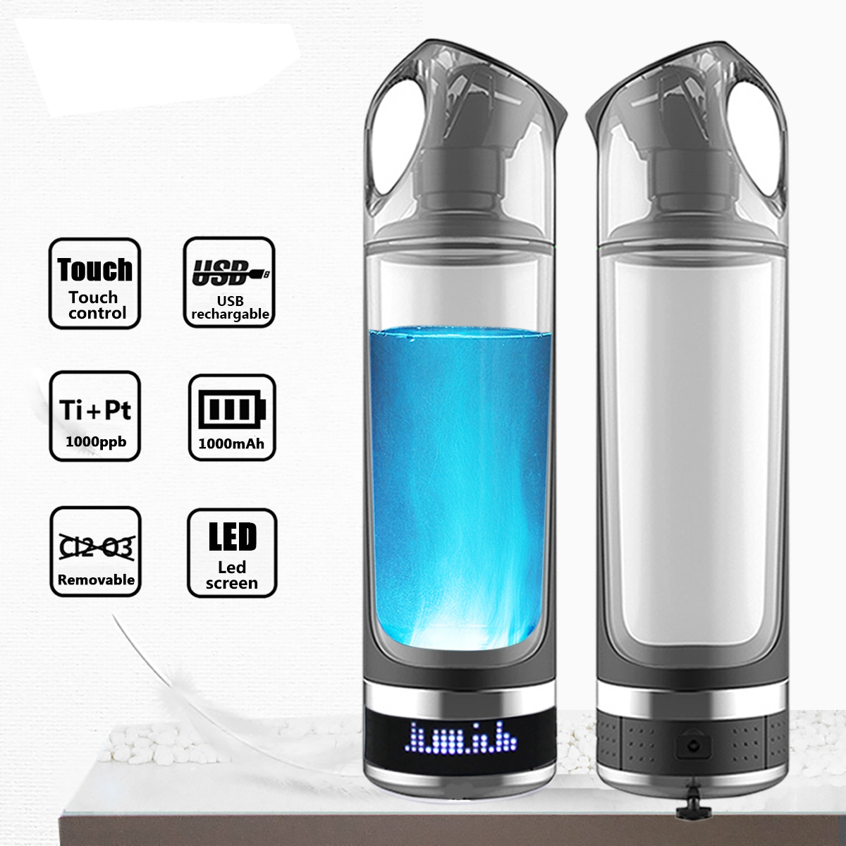 USB перезаряжаемые водорода богатые воды генератор Lonizer бутылка щелочной энергии чашки Портативный анти старения