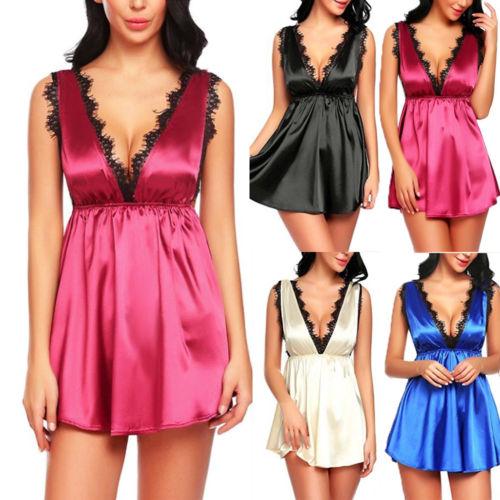 aef2c9d81b9 Sexy Lingerie Set Women V-neck Lace Robe Dress Backless Babydoll Nightdress  Nightgown Sleepwear Dresses
