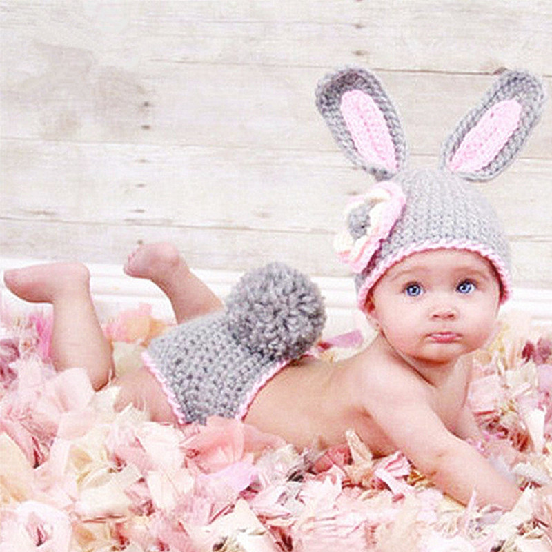 Newborn Baby Photography Props Accessories Baby Knitted Costume Rabbit Baby Clothing Baby Photo Props Accessory Infant Hat Set