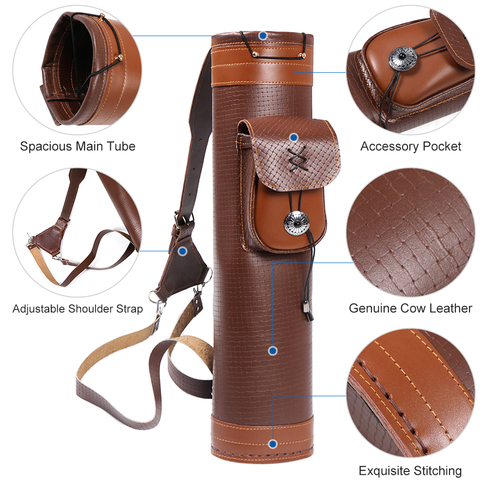 Image 2 - Cow Leather Archery Quiver Arrow Shooting Hunting Bag Back Shoulder Storage Bag Carrier Shoulder Tube Arrows Holder-in Bow & Arrow from Sports & Entertainment