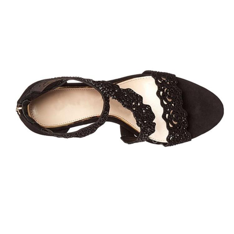 Talons Été En Nouveau Femmes Sandales Taille D'explosion Dentelle De Noir kaki Hauts Sexy 2019 Modèles Chaussures Grande q1EvOdvnx