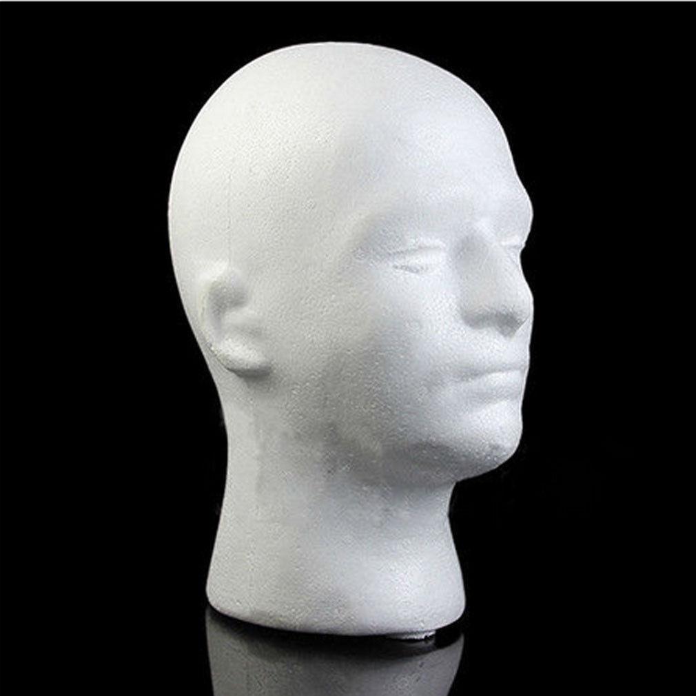 MALE MANNEQUIN STYROFOAM FOAM HEAD MODEL WIG GLASSES HAT DISPLAY STAND duty