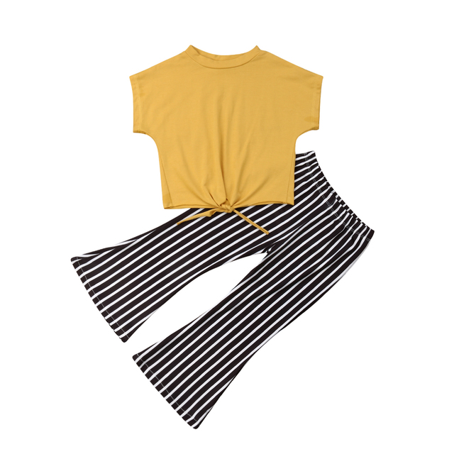 b269c6f61c41 2019 Summer New Toddler Kids Girls Yellow Solid Outfits Clothes Loose T  shirt+Striped Flare Pants Casaul Set Clothing-in Clothing Sets from Mother    Kids on ...