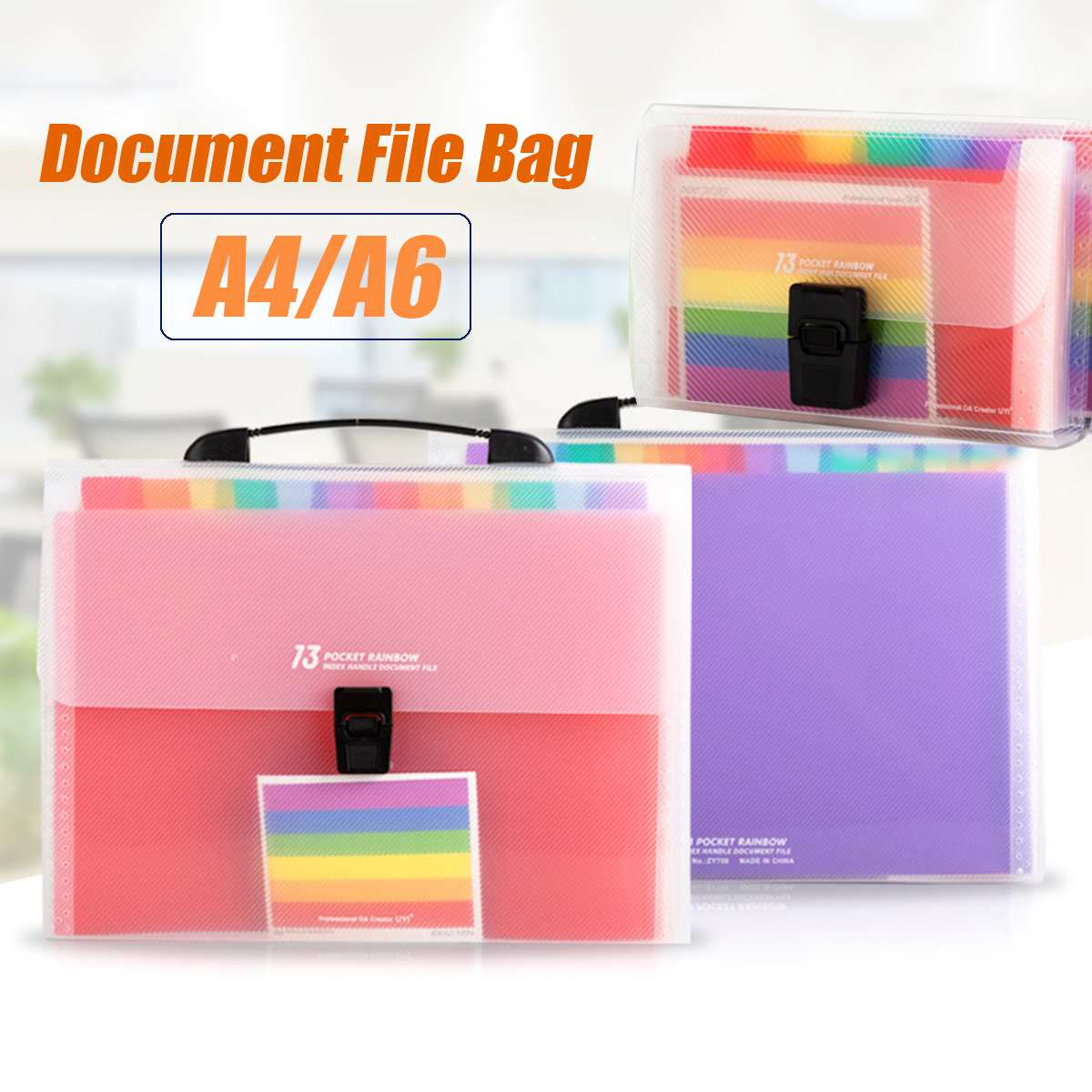 13 Pockets A4 A6 Document Bag Cute Rainbow Color Mini Bill Receipt File Bag Pouch Folder Organizer File Holder Office Supply