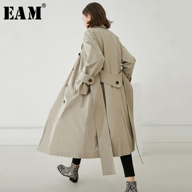 [EAM] 2019 New Spring Lapel Long Sleeve Beige Loose Long Double Breasted Big Size Windbreaker Women   Trench   Fashion Tide JO306