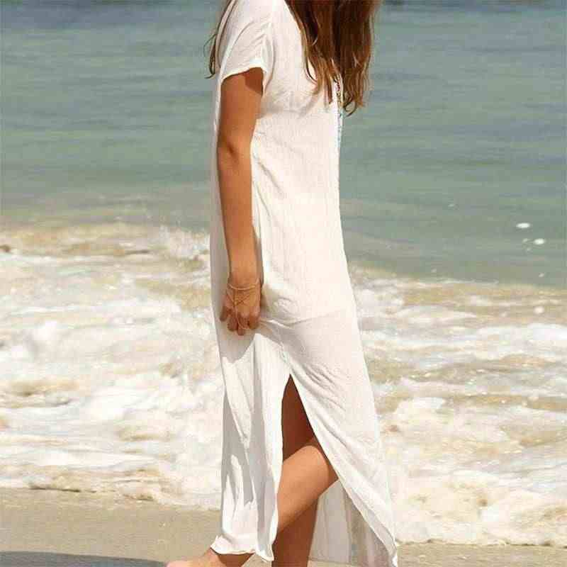 9c4a8f748232f VONDA Plus Size Women Dress 2019 Summer Boho Sexy V Neck Short Sleeve Split  Hem White Long Dresses Casual Loose Holiday Vestidos