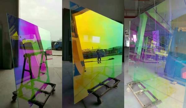 138 cm x 100 m Auto Adesivo Dicroico Arcobaleno Solare Tinta Finestra di Pellicola per la Costruzione di Vetro