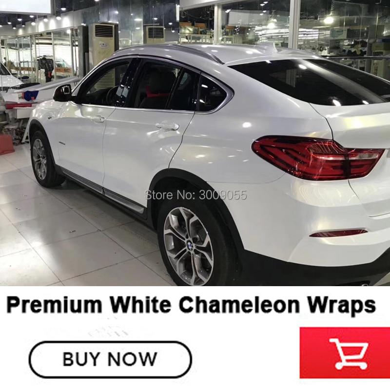 Plus haute qualité En Céramique Blanc Caméléon enveloppe de vinyle autocollants pour voiture Bubble Free Car Vinyle Film pour la voiture corps film Taille: 1.52X20 M