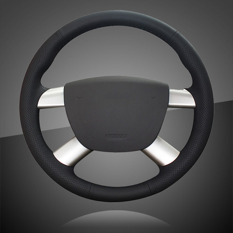 Genuine Leather Car Braid On The Steering Wheel Cover for Ford Focus 2 2005 2011 for