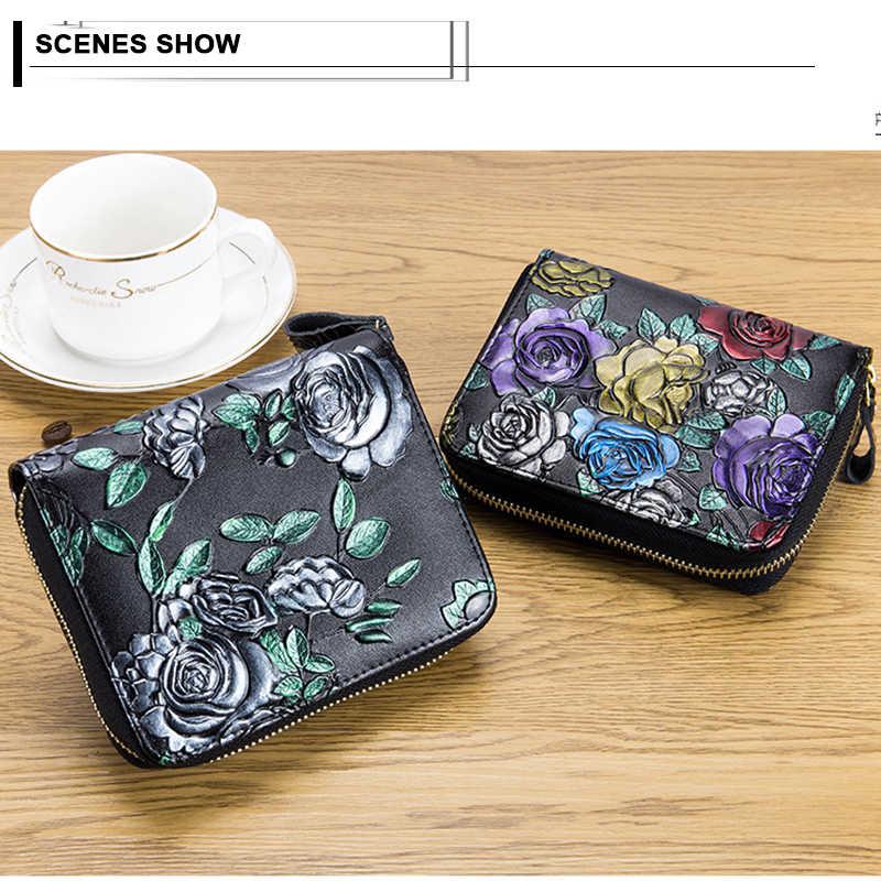 Couro Genuíno Das Mulheres do vintage Flor Rosa Curto Carteira Pequena Bolsa Com Zíper Acordeão Portadores de Cartão de Crédito De Luxo Senhora Bolsa Da Moeda