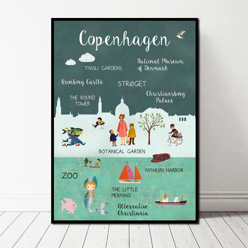 Landscape Copenhagen Danmark Bern Switzerland Collage Poster Art Canvas Poster Wall Pictures For Living Room No Frame