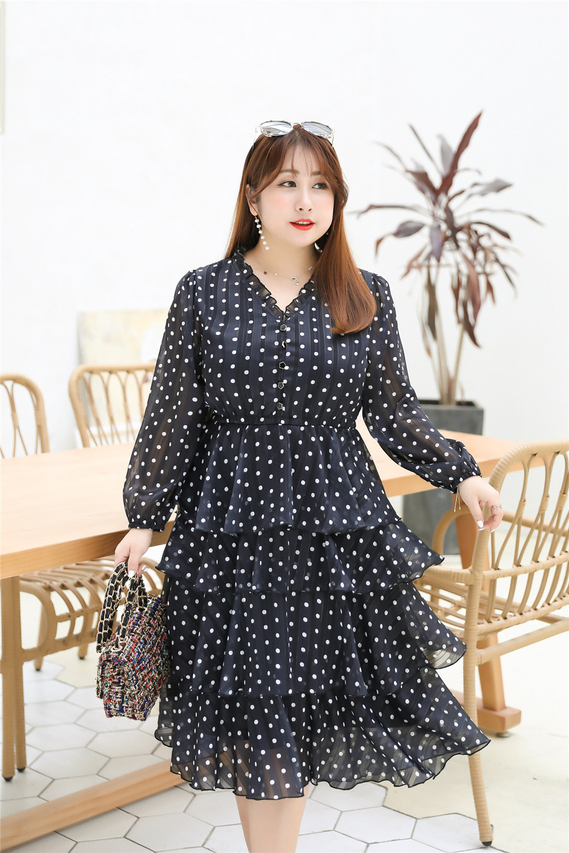 MINSUNDA Plus Size Button Front Frill Neckline Chiffon Dress Women ...