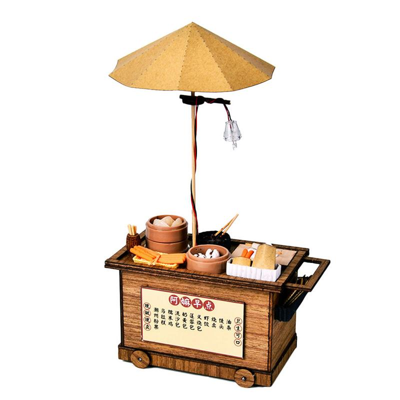 Lighting House Building Wooden Model Kits DIY Chinese Breakfast Trolley Toy Model Christmas Gifts