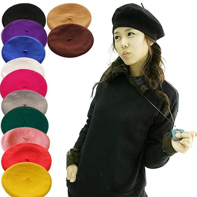 59e3251923f1c Mujer Bonnet 2018 caliente sombreros de invierno de Color sólido de las  mujeres chica boina artista