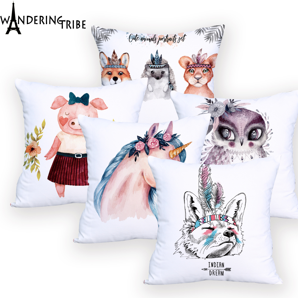 <font><b>Unicorn</b></font> Bird <font><b>Cushion</b></font> <font><b>Cover</b></font> White Decorativos for Office Custom Pillow Case Animal Throw Pillows for Car Seat Fashion image