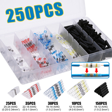 250Pcs Red/White/Blue/Yellow/Black Mixed Solder Sleeve Heat Shrink Butt Wire Splice Connector Terminals
