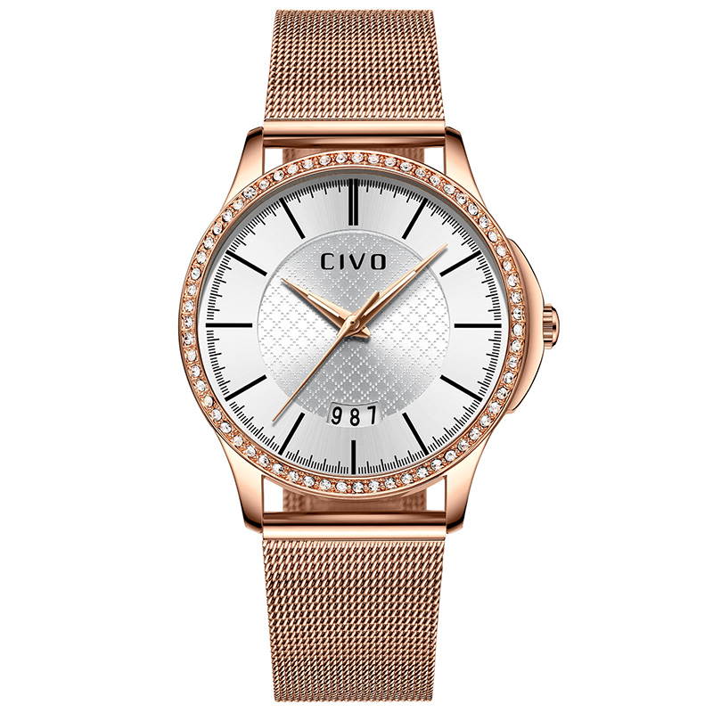 Relogio Feminino CIVO Ladies Watches Gold Slim Mesh Stainless Steel Womens Watches Waterproof Date Analogue Wrist Watch WomenRelogio Feminino CIVO Ladies Watches Gold Slim Mesh Stainless Steel Womens Watches Waterproof Date Analogue Wrist Watch Women