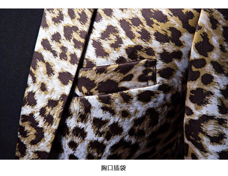 Men/'s Suits Tide Plus Size Night DJ Club Leopard 2 Pieces  Stage Singers Casual