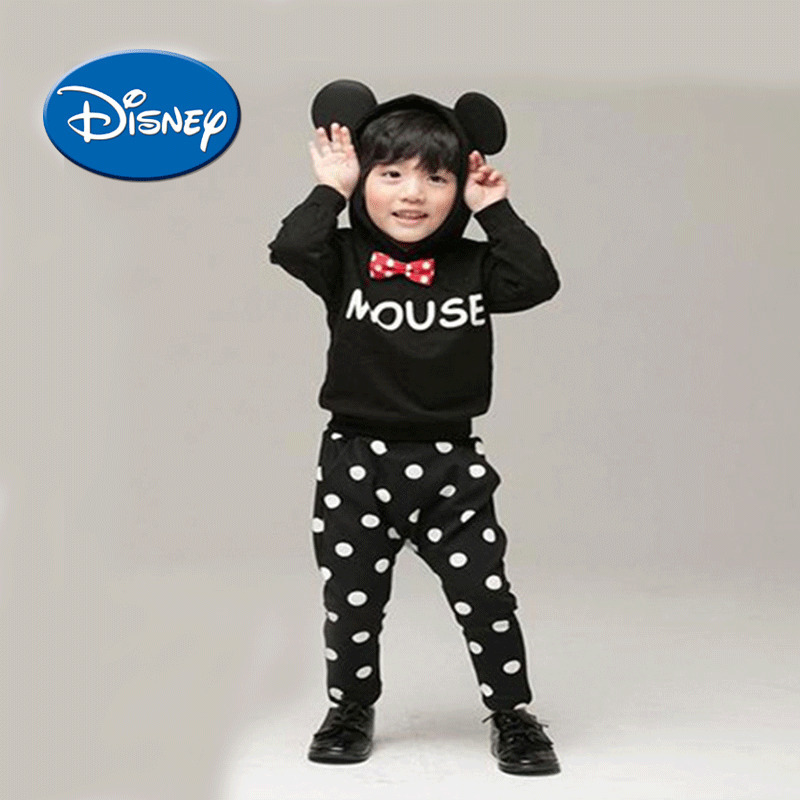 DISNEY Boy Polka Dot Pants Clothes Minnie Dress Pure Cotton Children Suit Soft Casual Sportswear Leggings And Hoodie цена
