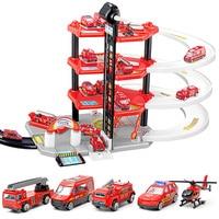 DIY Model Building Toy Rail Car Four Storey Fire Parking Lot Assemble Railway Building Block Track 3D Car Racing Track Toys