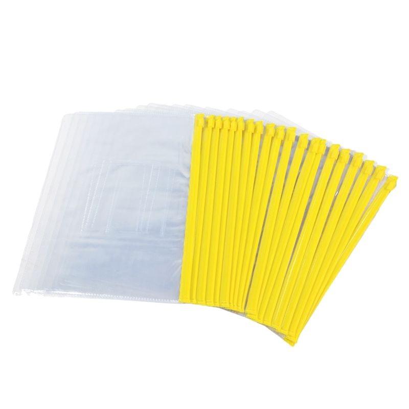 Size A5 Card Slider Zip Closure Folders PVC Folders Envelopes, 20 Pieces Transparent Yellow