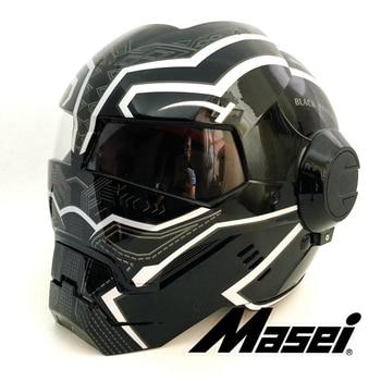 2019 Bright Black panther MASEI 610 IRONMAN Iron Man helmet motorcycle half helmet open face helmet motocross S M L XL