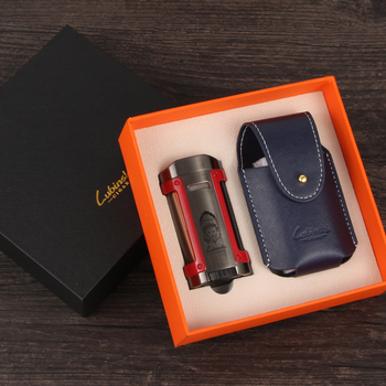 Lubinski Lighter Windproof Gas Cigar 4 Torch Jet Flame Portable Travel Cigarette Lighters W / Gift Box