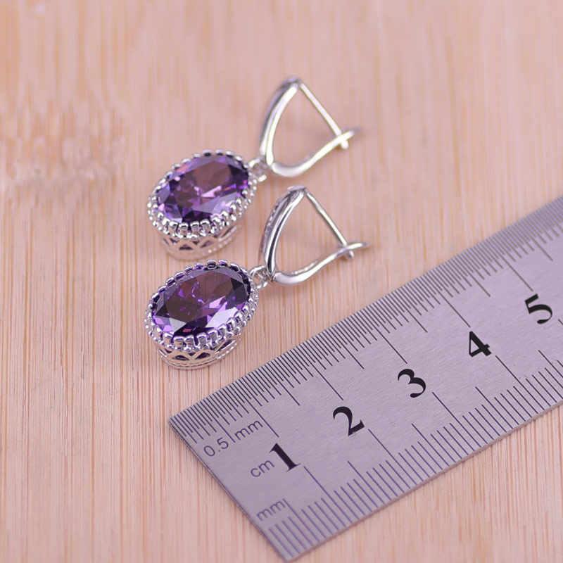 Top คุณภาพประณีตสีม่วง 925 เงินสเตอร์ลิงสตรีงานแต่งงานต่างหูสร้อยคอแหวน Zircon คริสตัลเครื่องประดับชุด