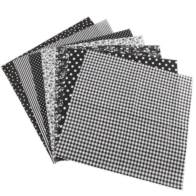 7 шт. 25*25 см Хлопок Ткань DIY ассорти квадраты предварительно вырезать комплект постельных принадлежностей кварталы комплект черный