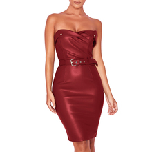 f7b7194b6da new Sexy Leather dress women Nightclub Tube Strapless knee length bodycon  Dress Party Clubwear pure color