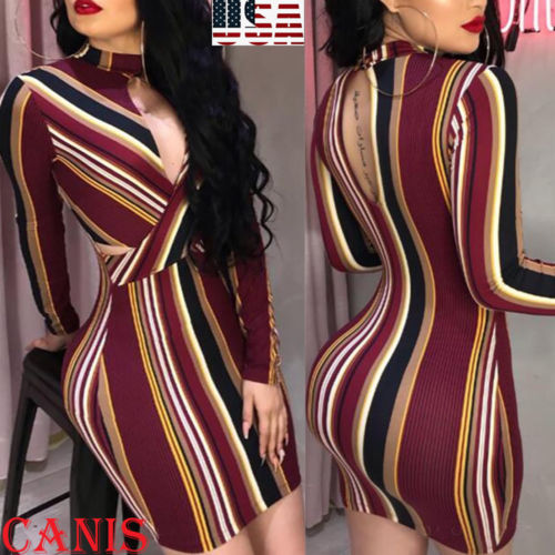 Womens Stripe O-Neck Long Sleeve Bodycon Cocktail Party Short Mini Dress Striped Hollow out