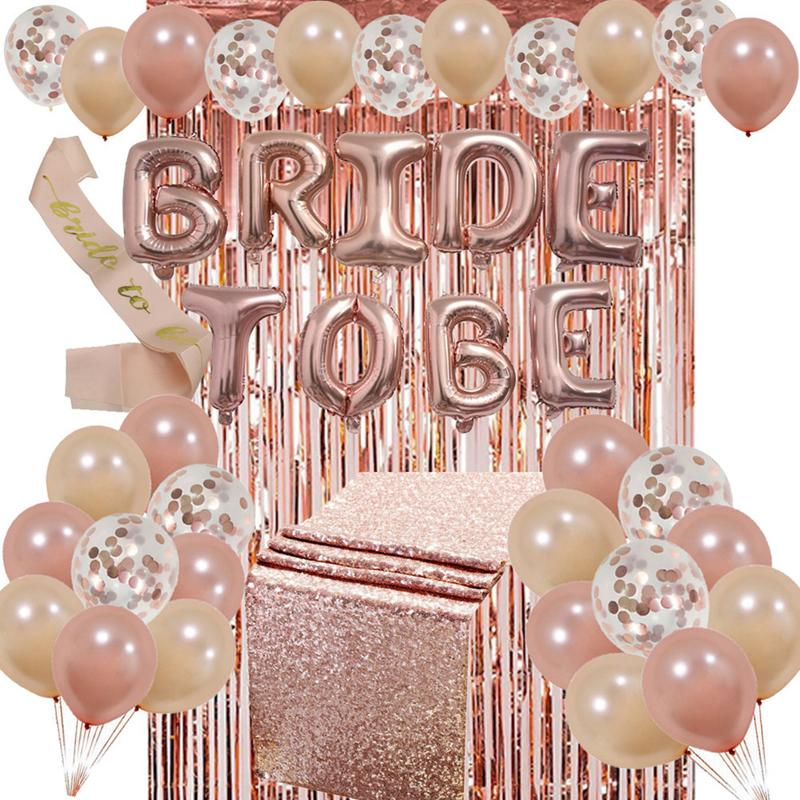 Bride to be Balloons Set Bachelorette Party Rose Gold Tablecloth Foil Fringe Curtain Bridal Shower Decorations Kit SuppliesBride to be Balloons Set Bachelorette Party Rose Gold Tablecloth Foil Fringe Curtain Bridal Shower Decorations Kit Supplies