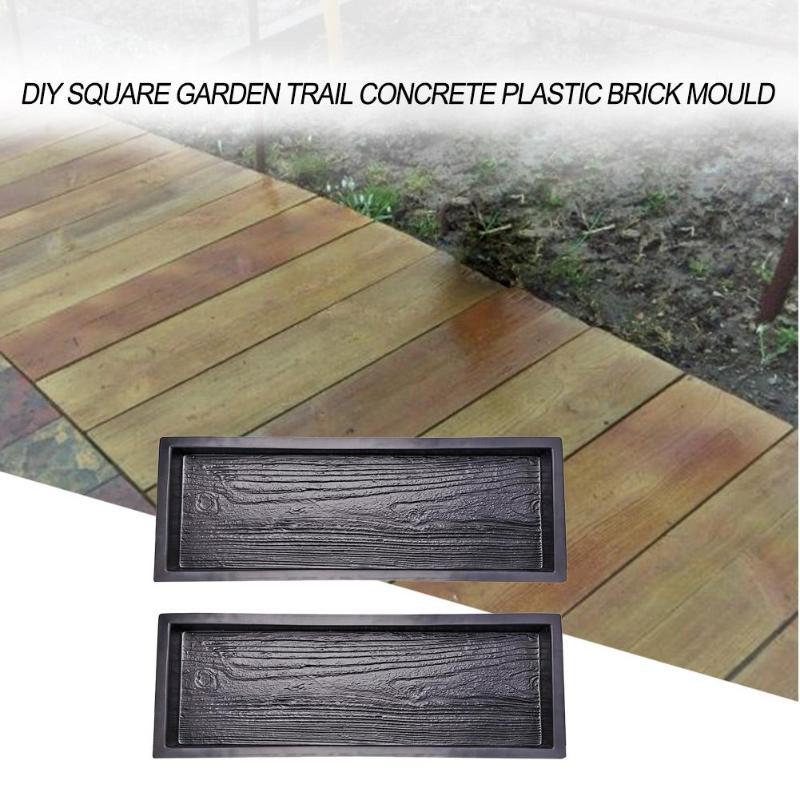 2 Pcs Molds Imitation Wood Garden Pavement Mold DIY Stepping Stone Concrete Paving Mould Road Concrete Molds Pathmate