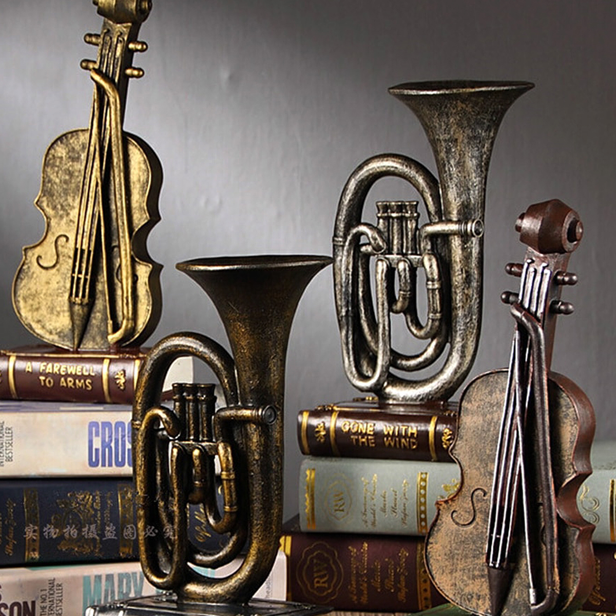 Vintage Musical Instruments Shabby Chic Cafe Bar Home Decoration Accessories Resin Crafts