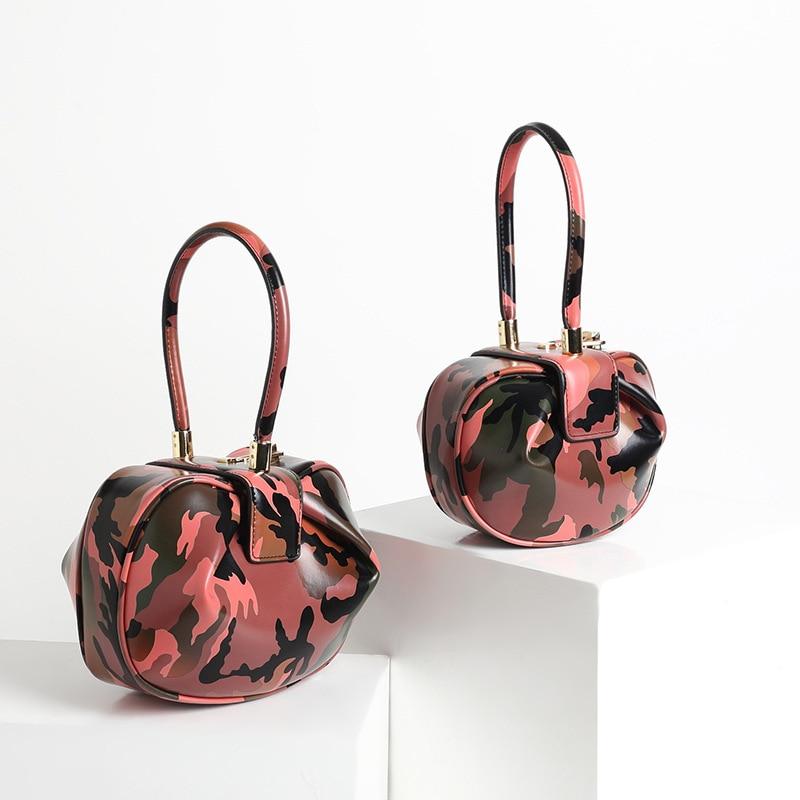 2019 Fashion Vintage Camouflage Pillow Boston Box Barrel Handbags Genuine Leather Clutches Evening Wrist Bags Women Female