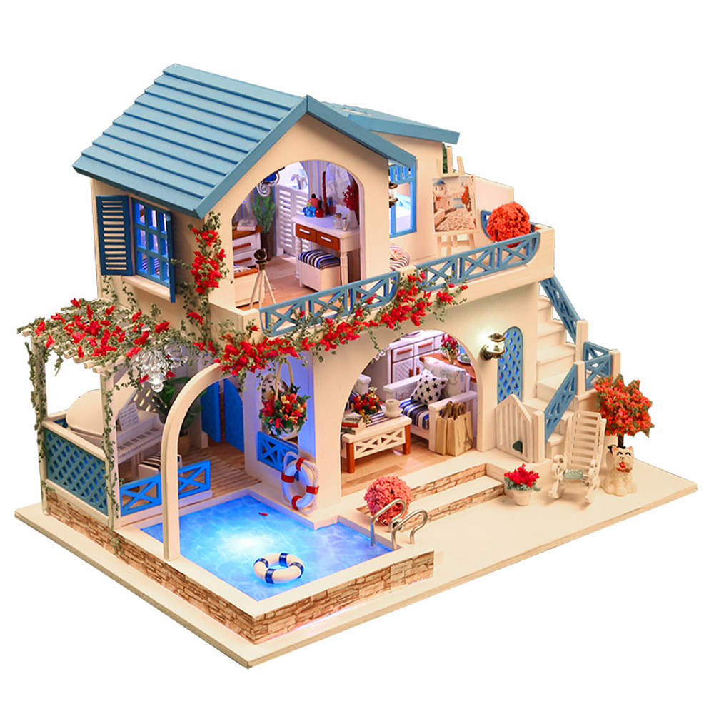 Doll House Building Model Kits Wooden Furniture Toys DIY Dollhouse Blue and White Town