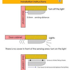 Image 5 - 7 diodo emissor de luz da noite indução pir sensor movimento inteligente noite lâmpada alimentado por bateria gabinete dobradiça luz para armário cozinha gaveta