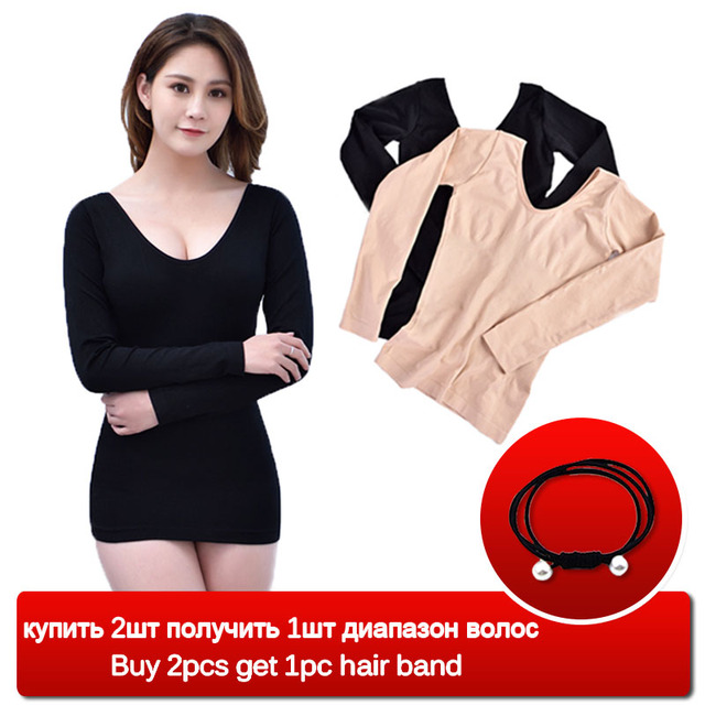 806dd9a57ff Thermal Underwear For Women Plus Size Long Johns Fleece Warm Ultra Thin  Seamless Shape Slimming Thermal Autumn Winter Lingerie D