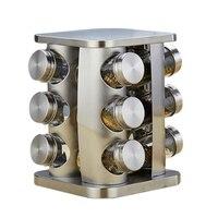 Professional Seasoning Jar Box Stainless Steel Salt Pot Glass Jar Kitchen Supplies Seasoning Box